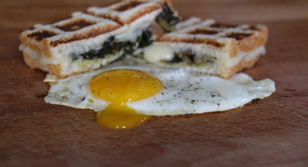 Eat Yo Greens:  Brioche Grilled Cheese with Braised Dandelion and a Farm Fresh Egg
