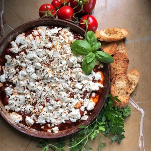 Warm Garden Tomato Dip with Goat Cheese