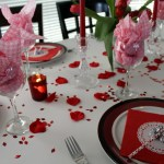 A Valentine's Day Inspired Tablescape, on a budget, in tones of red and pink.