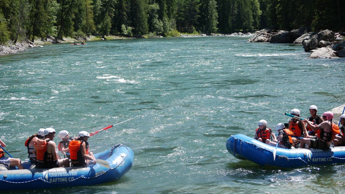 Whitewater rafting water fight!