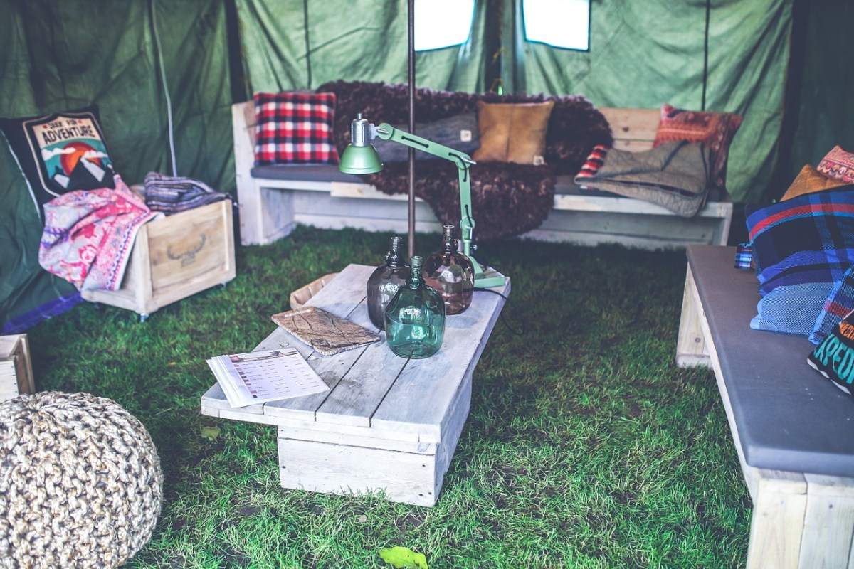 A supreme lounging tent for camping.