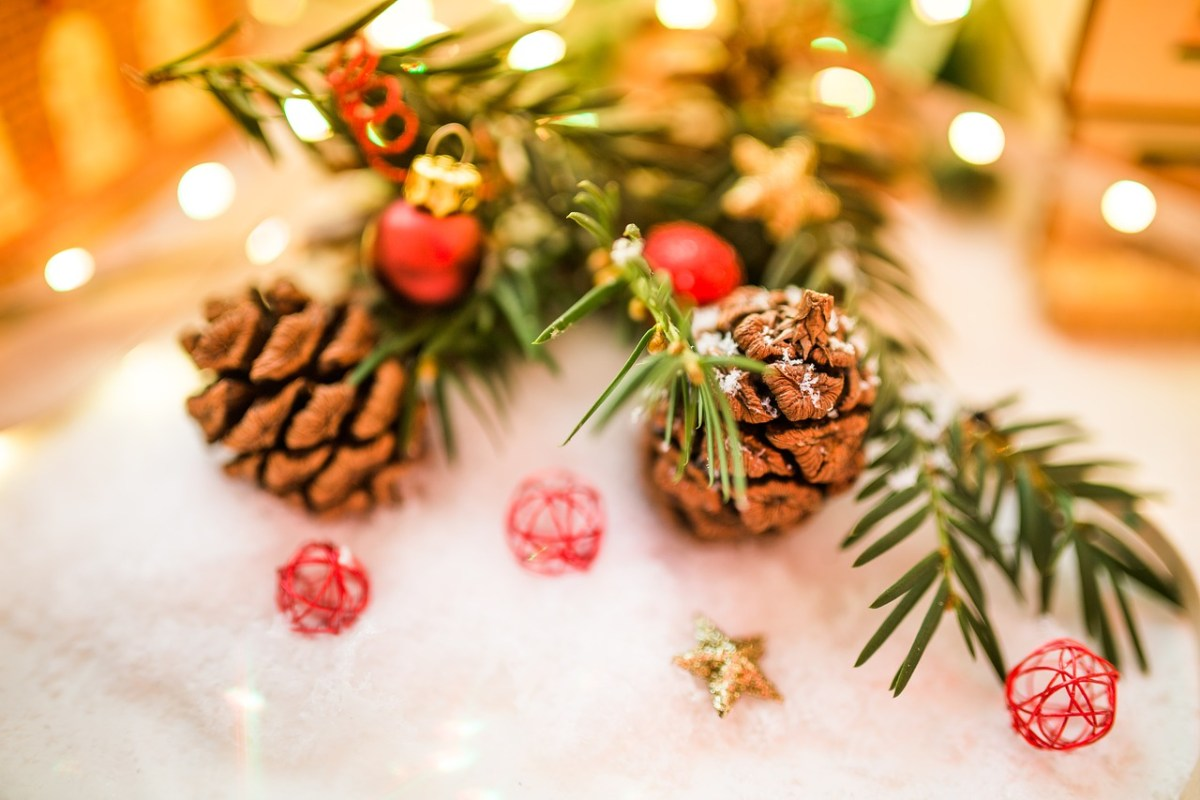 Pine branches and pine cones can be free or cheap holiday decor
