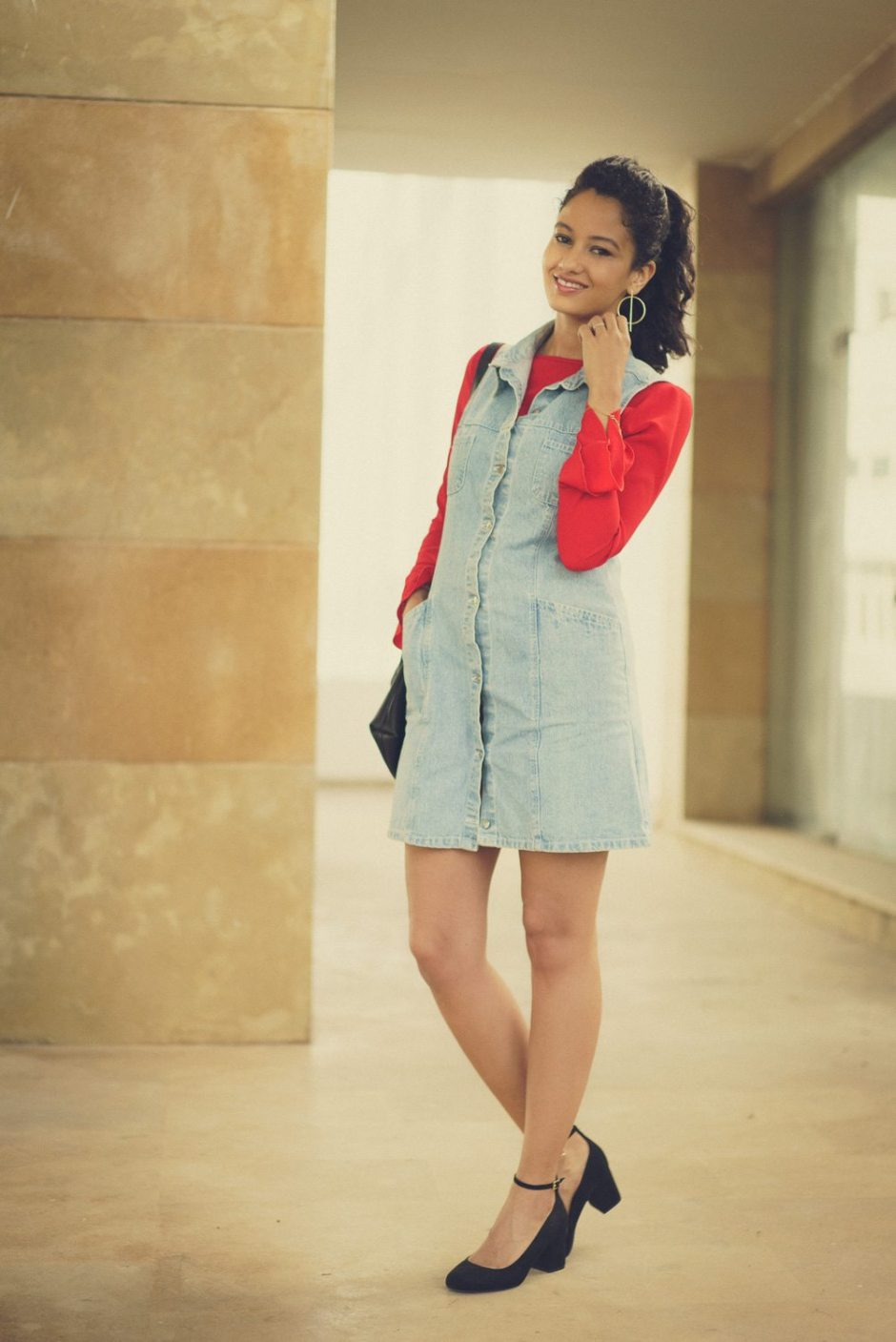 denim dress and red ruffles