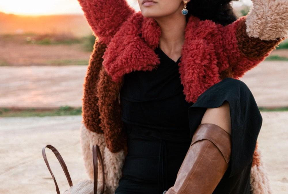 Sunset & faux-fur coat