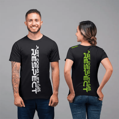 just doing life with respect tshirt - white - green - couple