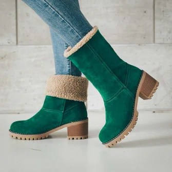 Shoes   Shop Fashion Styles Newly Shoes Online   JustFashionNow Women Warm Square Heels Snow Boots
