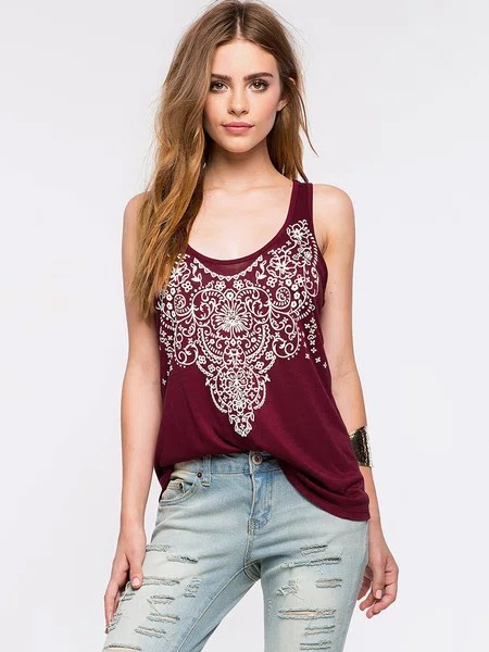 Burgundy Printed Scoop Neckline Cutout Back Tank Top