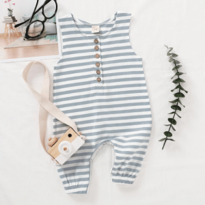 Blue & White Striped Sleeveless Romper