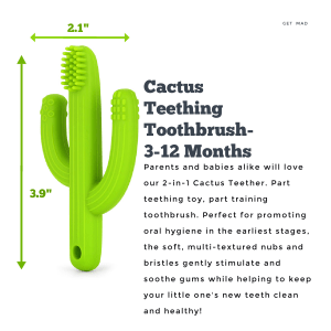 Just4Tots by MAD – Cactus Baby Teething Toy Toothbrush – 2-in-1 Baby Teether Toy – Gum Soother and Massager for Natural Teething Relief – Made of Soft, BPA-Free Food Grade Silicone