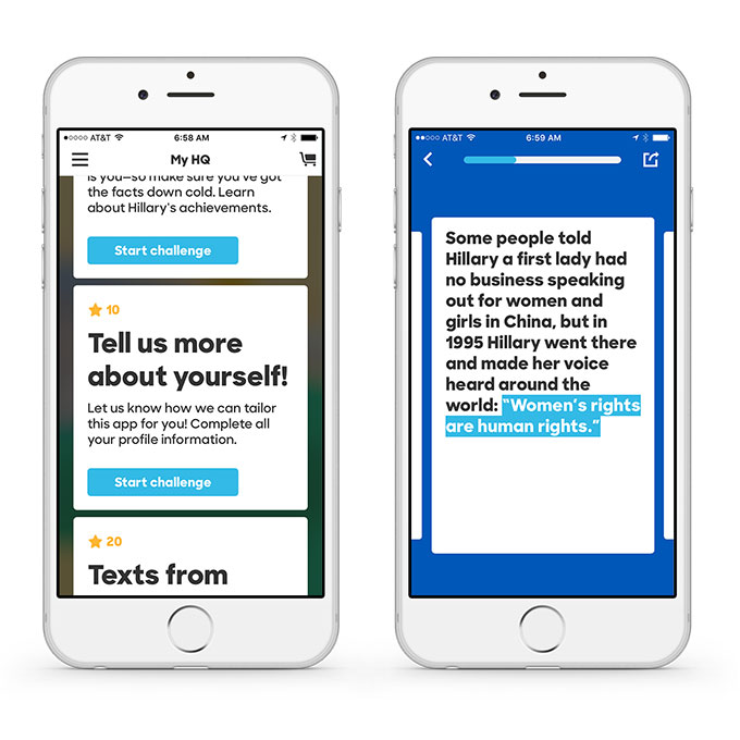 The HFA app uses slacktivism and gamification to mobilize voters.