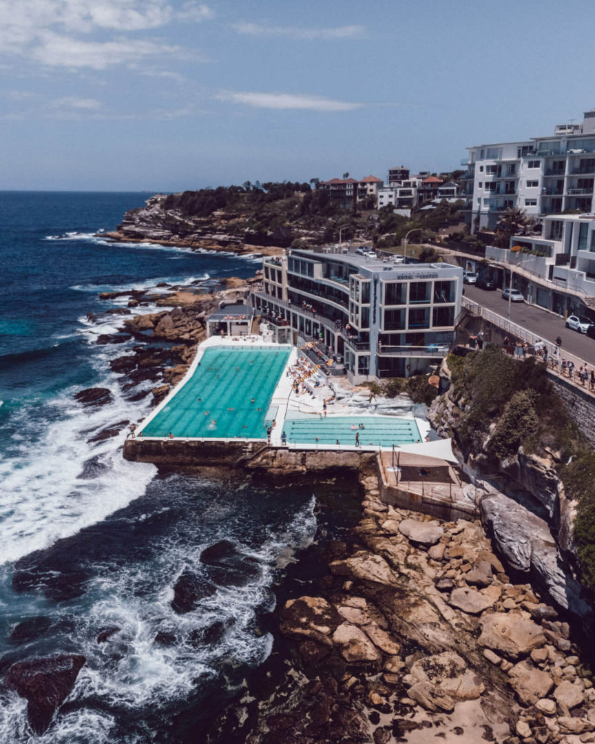 drone shot of outdoor swimming pool in the ocean at bondi beach called Iceberg