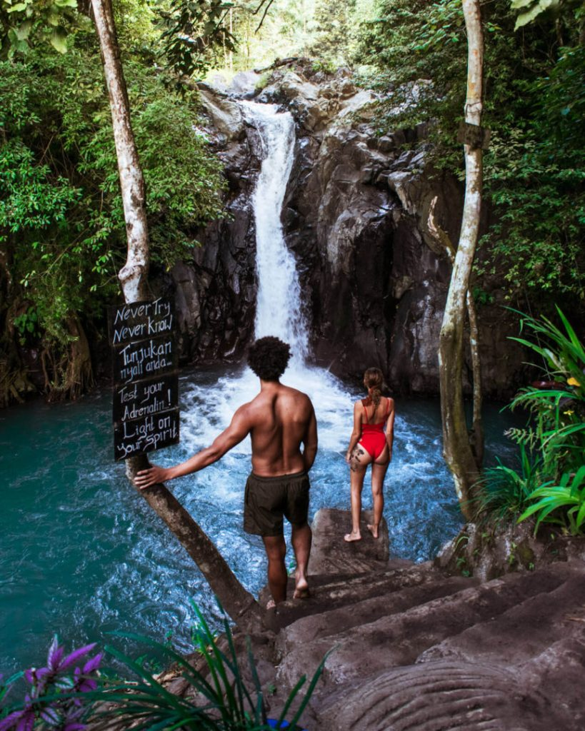 Couple at Kroya Waterfall in Munduk Bali