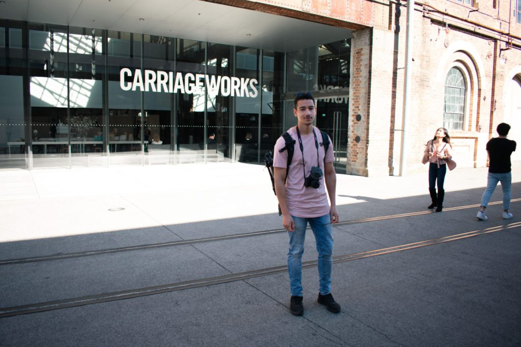 Woody stood outside Carriageworks in Sydney