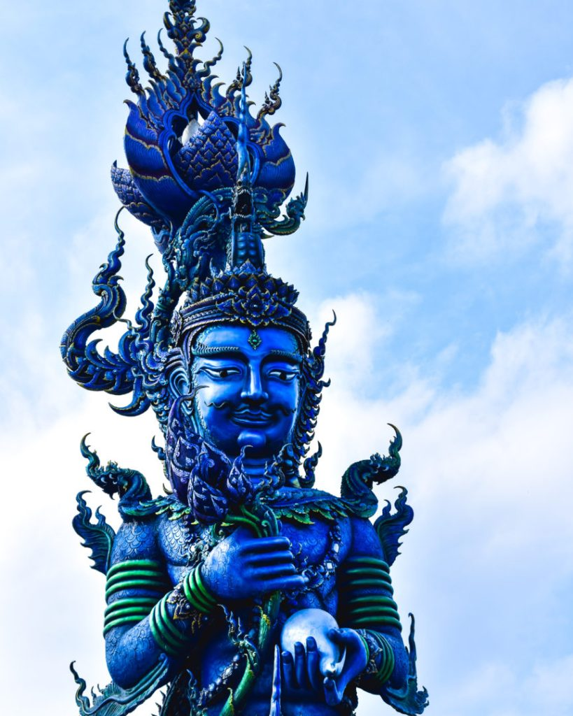 Blue statue  outside of the Blue Temple
