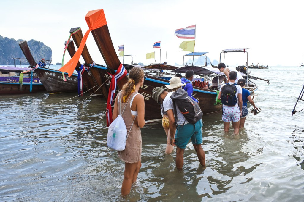 People getting on Long-Tail boat in Ao-Nang