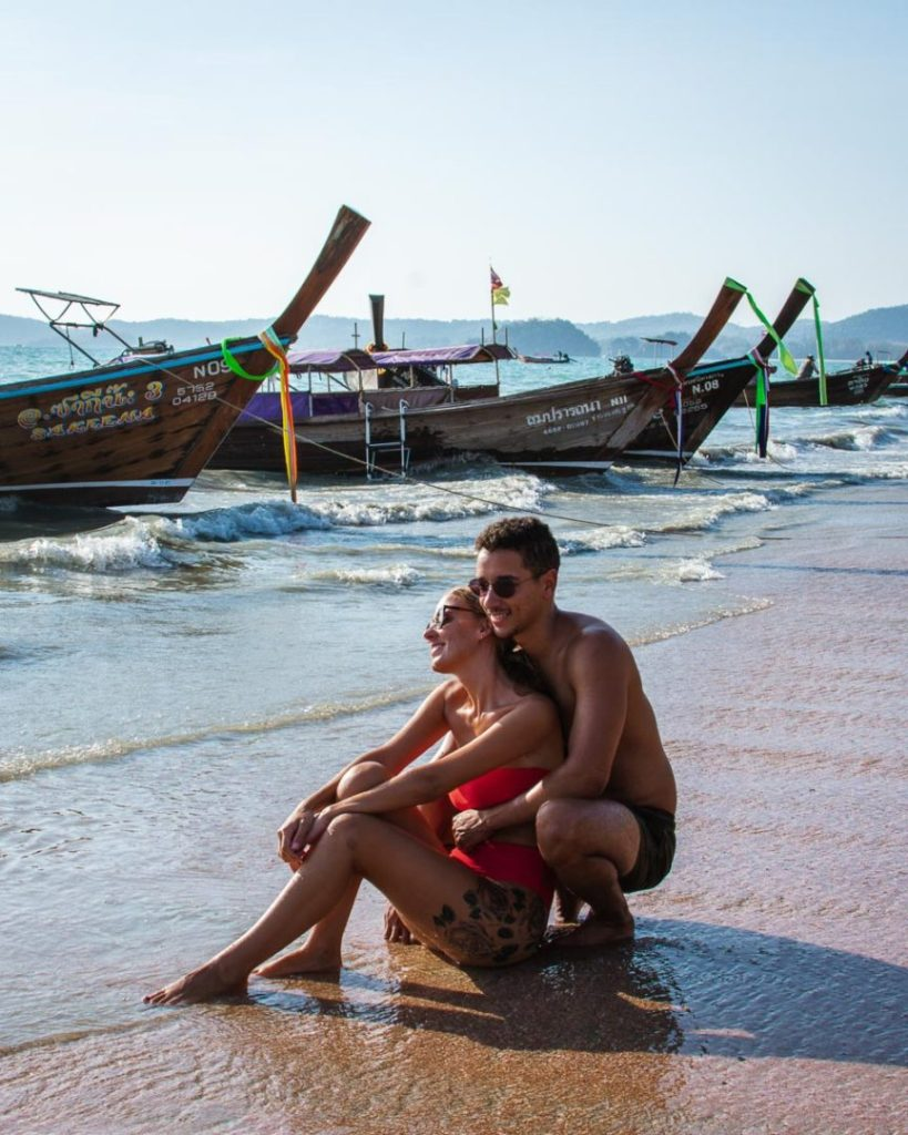 Laying on the sand on the beach in Ao nang