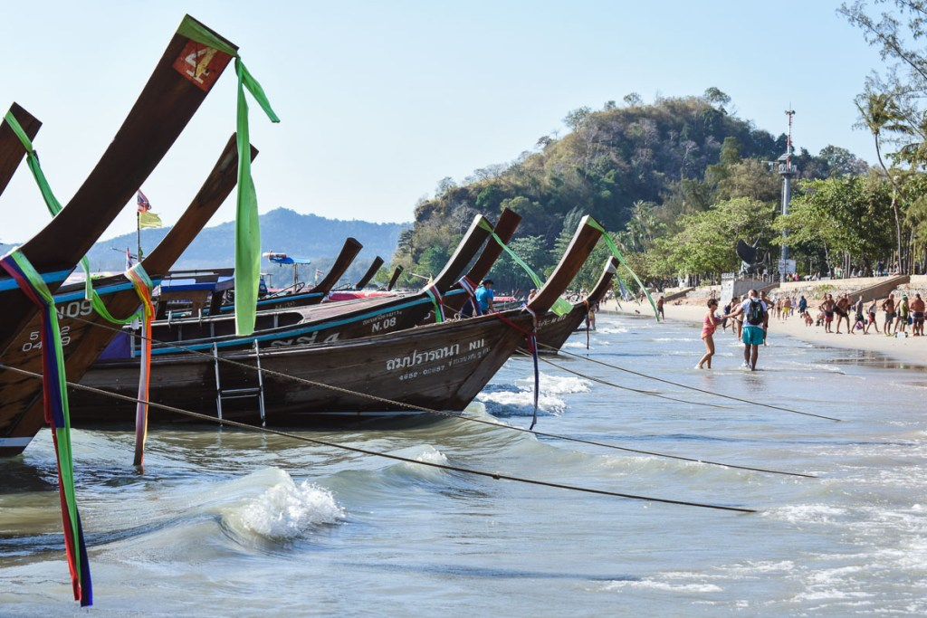 A row of longtail boats