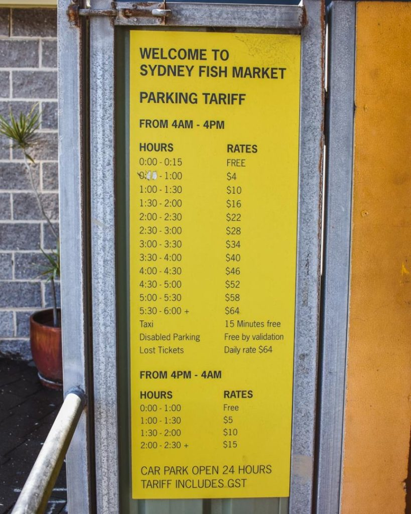 parking prices at the sydney fish market