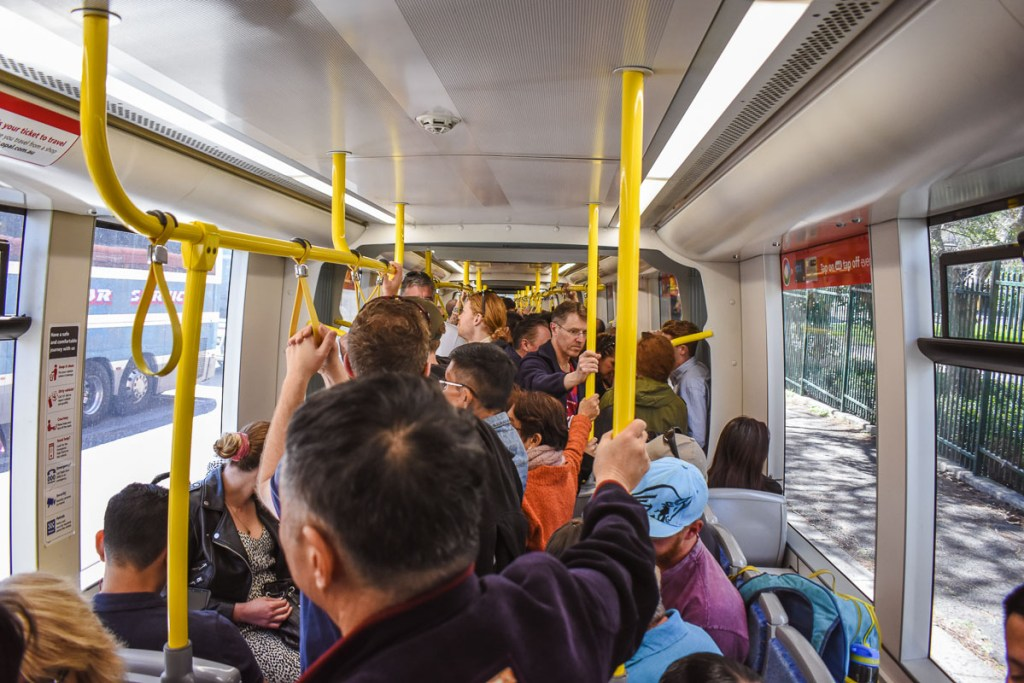 People on the Sydney tram