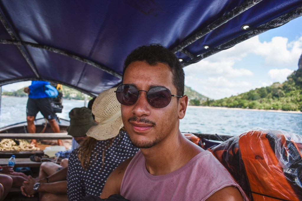Woody on the longtail boat from ao nang to railay beach