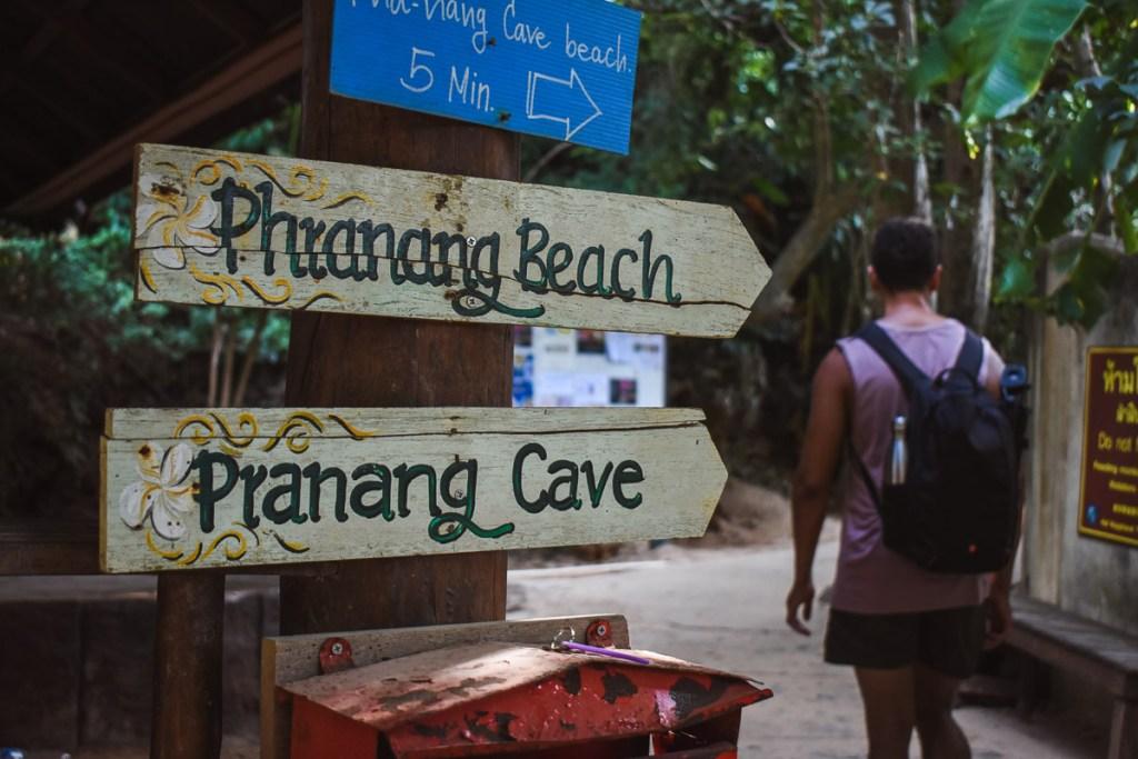 phranang beach phranang cave sign