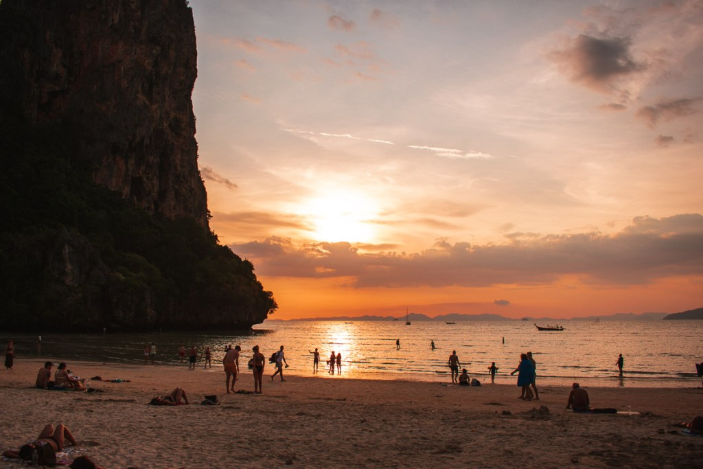 Railay beach at sunset thailand