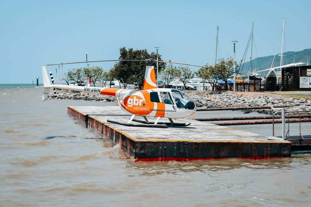 gbr helicopter on helipad in Cairns