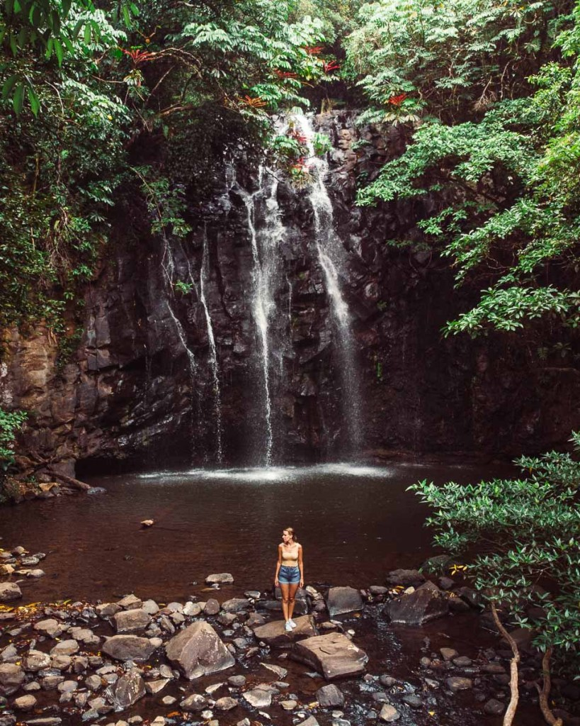 kerrie stood at the bottom of Ellinjaa Falls waterfall