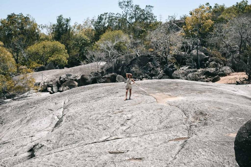Kerrie stood on big rock