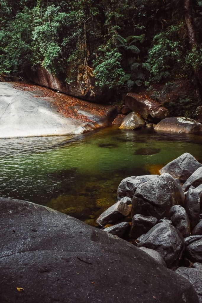Crystal clear waters at Josephine falls waterfall in cairns