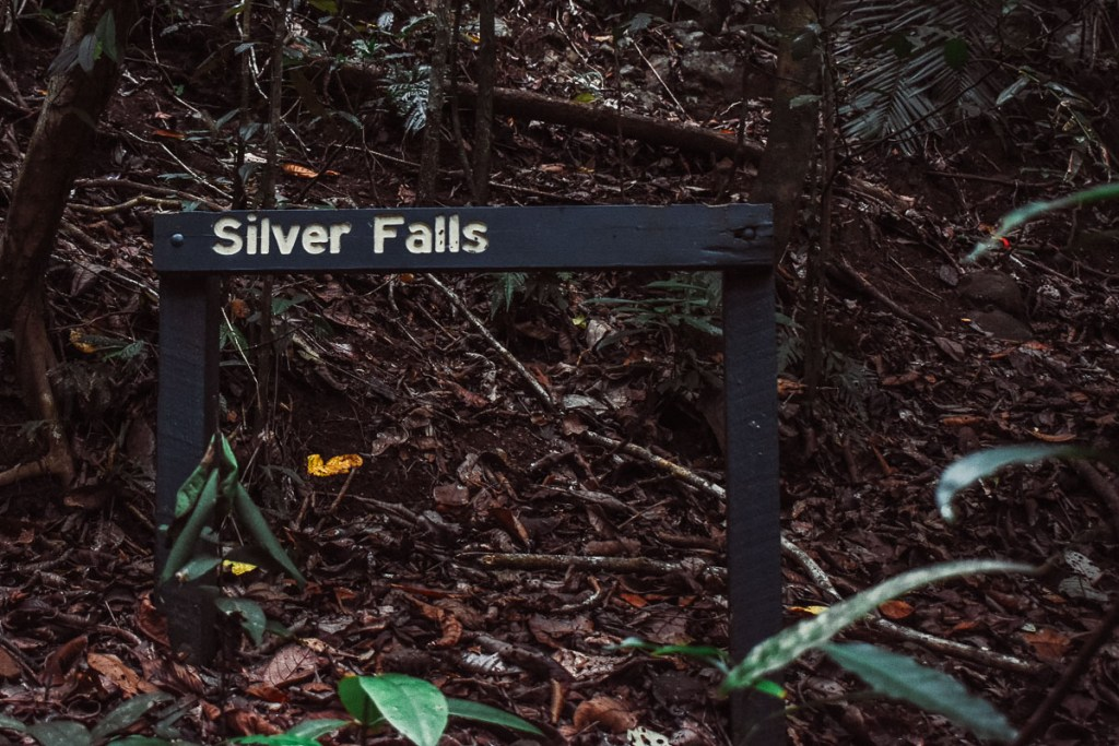 Silver falls sign before you get to Nandroya falls