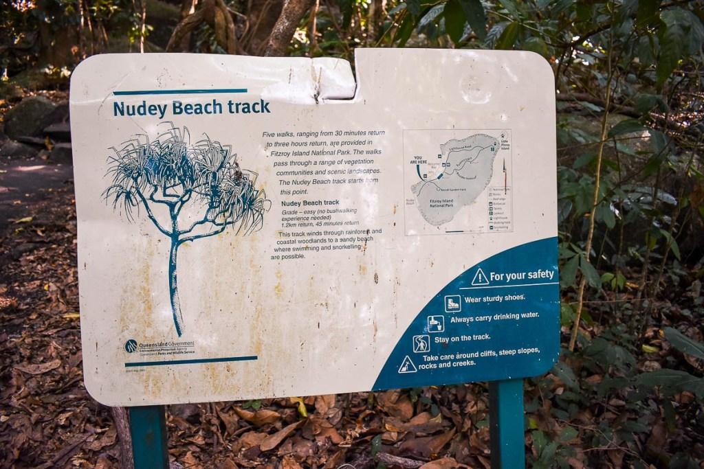 Nudey Beach Track Sign
