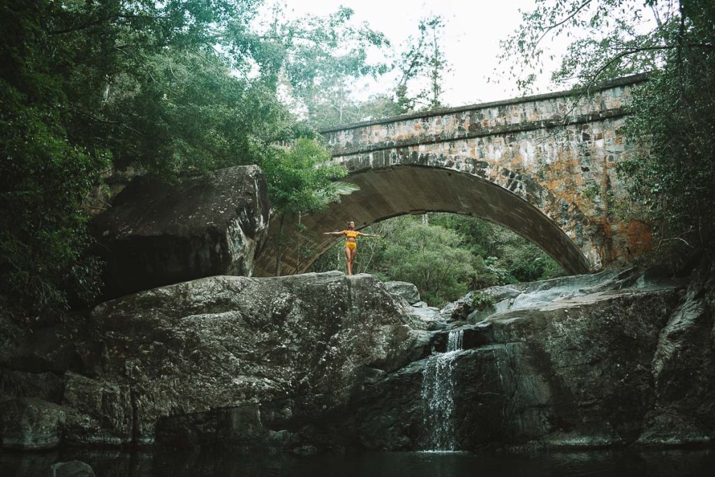 Posing at Little Crystal Creek bridge by Townsville