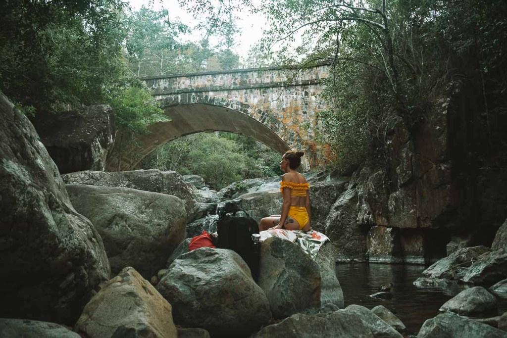 Relaxing at Little Crystal Creek Bridge