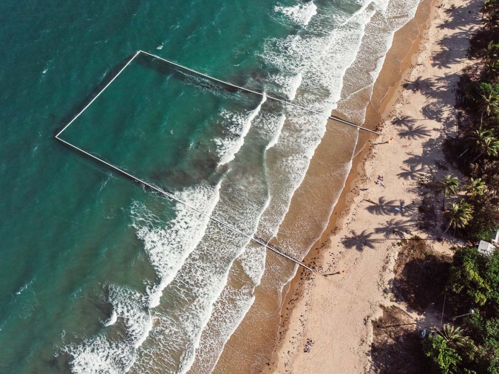 stinger net on the beach in the coral sea