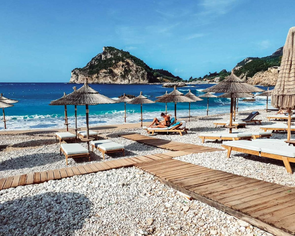 Agia Triada Beach in Paleokastritsa Corfu