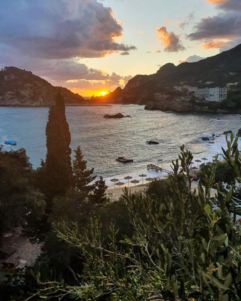 sunset in Paleokastritsa