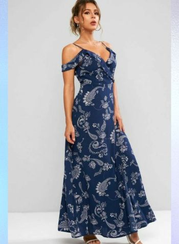 paisley print navy blue maxi dress