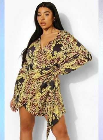 chain print shirt style dress