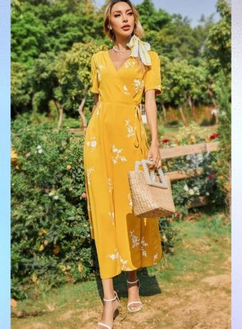 yellow midi dress with floral print