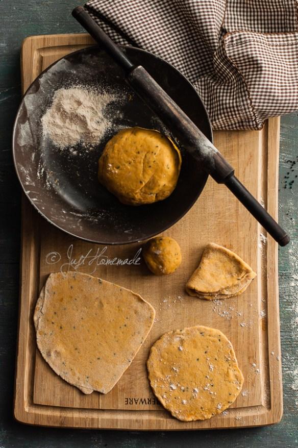 Butternut squash paratha making