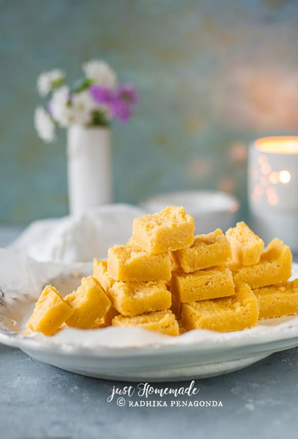 Mysore Pak sweet stacked