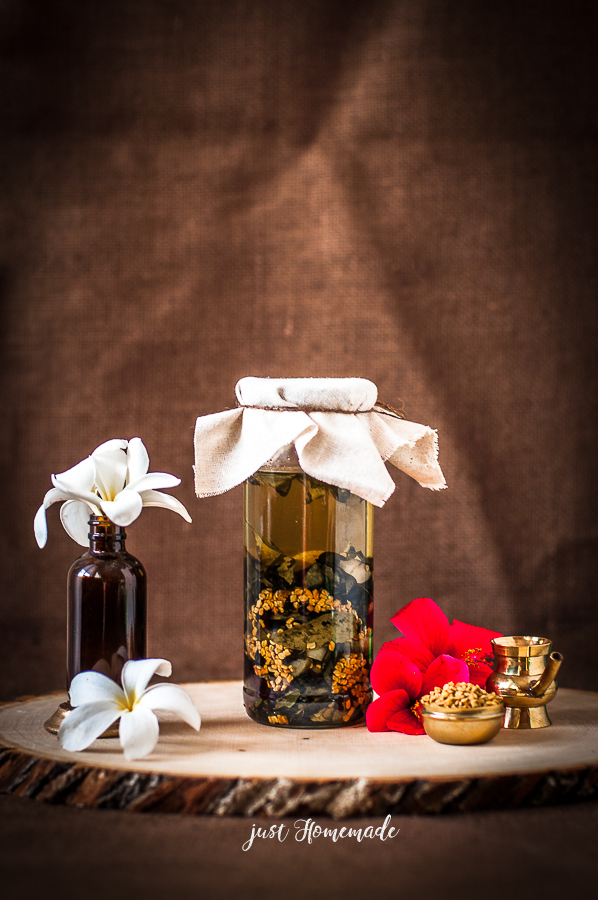 Homemade herbal Hair oil in a bottle