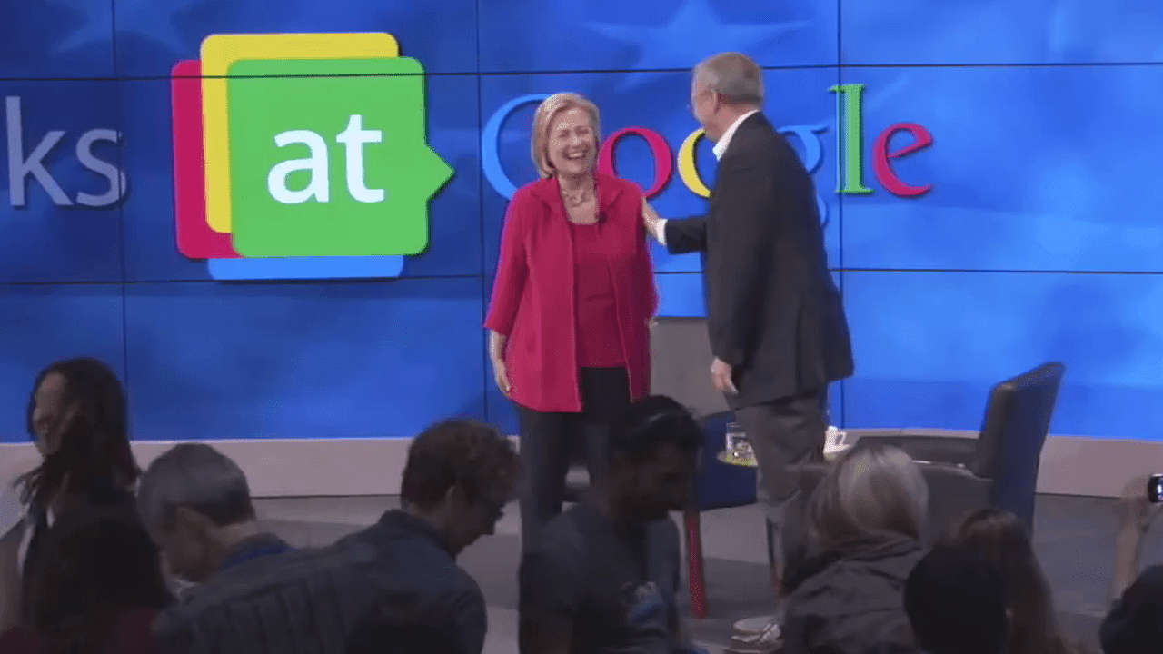 Hillary Clinton and Google Chairman Eric Schmidt at Google headquarters at Mountain View, CA, July 21, 2014