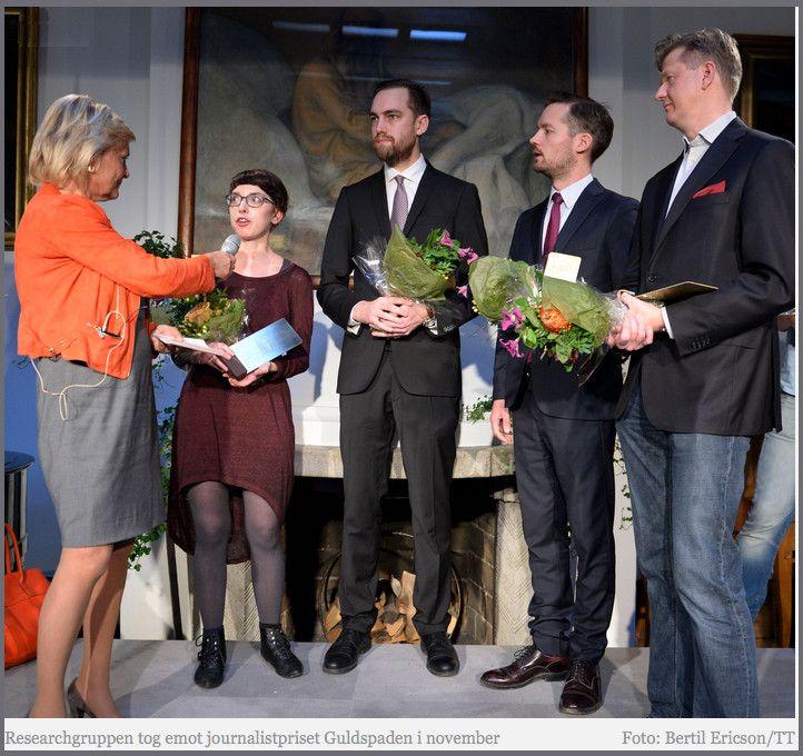 "Martin Fredriksson received Sweden's ""Golden Spade"" investigative journalism award (Bertil Ericson Photo TT))"