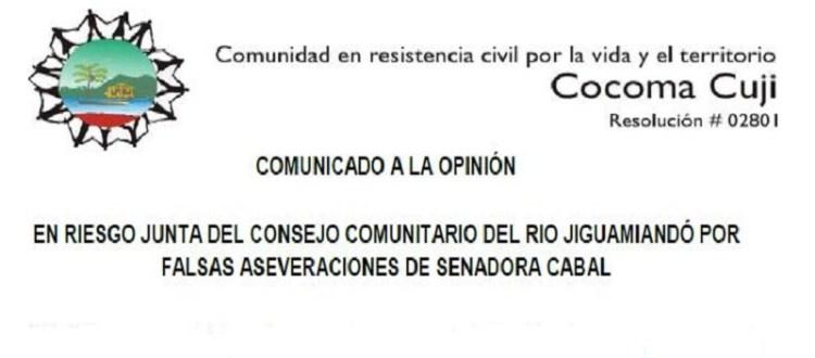 Comunicado Consejo Comunitario Jiguamiandó