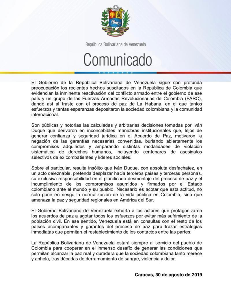 Comunicado República Bolivariana