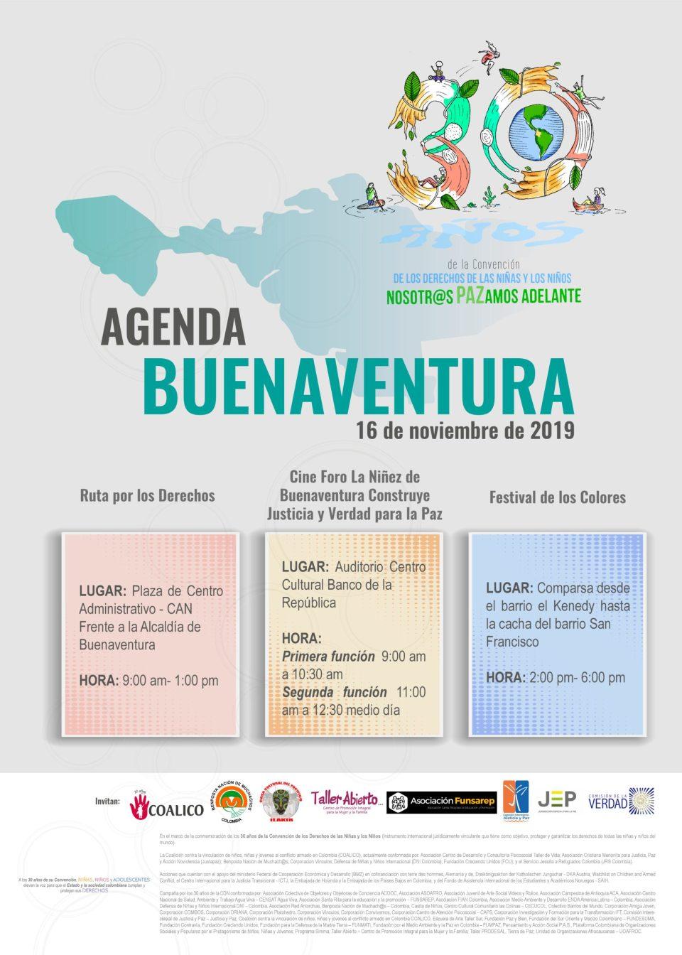 Invitación Agenda Las niñas y los niños PAZamos Adelante