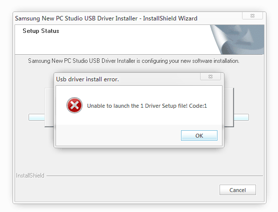 unable to launch the 1 driver setup file code 1