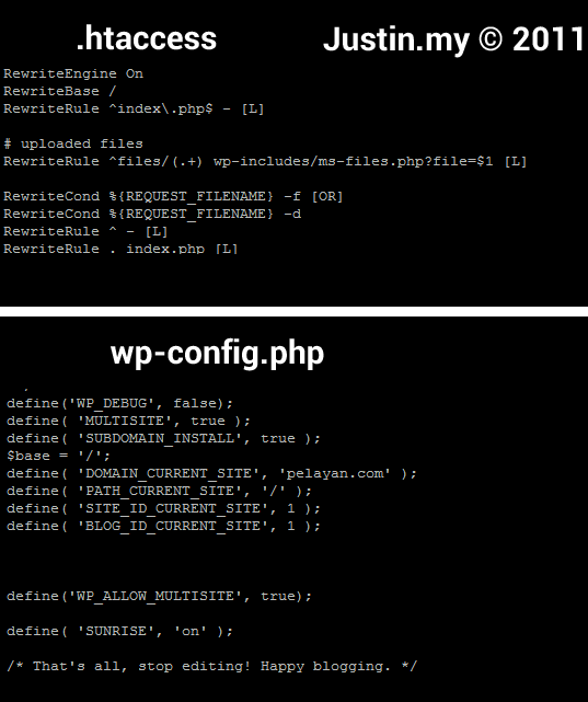 htaccess wp config